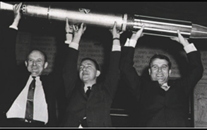 Image showing Dr. William Pickering, Dr James A. van Allen, and Dr. Wernher von Braun, the three men responsible for the success of Explorer 1.