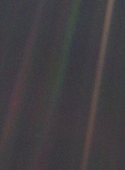 "1990: ""Pale Blue Dot"" first image of Earth as part of the solar system (Voyager 1)"