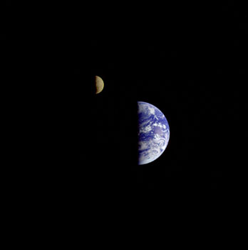 "1992: ""Family portrait"" of Earth and Moon (Galileo)"